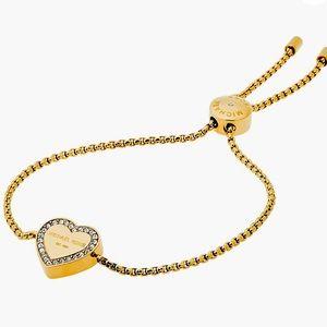 New Michael Kors Blush Rush Gold-Tone Bead Bangle Bracelet